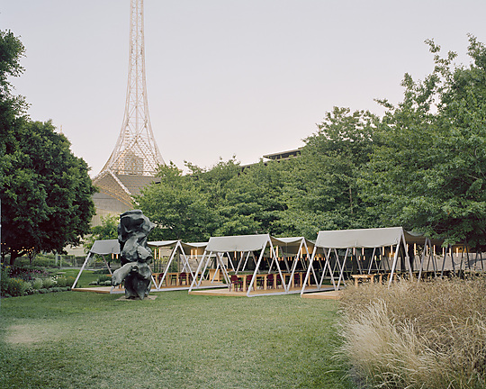 Interior photograph of NGV Triennial 2020 Outdoor Pavilions by Rory Gardiner
